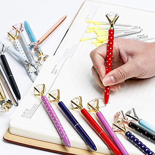 Big Diamond Pen 20 Pieces Rhinestones Crystal Metal Ballpoint Pens Black Ink With 20 Pack 3.2'' Ballpoint Pen Refills, Different Colors (20Pcs Big Diamond Pen) Photo #9