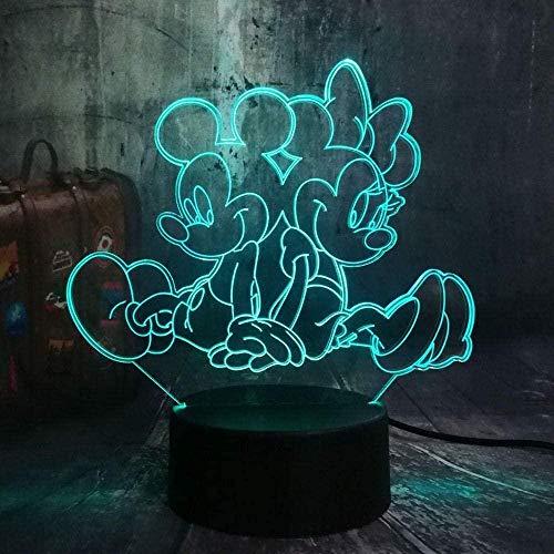Lámpara de ilusión 3D LED 3D para niños, luz nocturna de Minnie Lámpara de escritorio, 7 colores táctiles, mando a distancia para el hogar, dormitorio USB, regalo de cumpleaños, Minnie Mickey y M