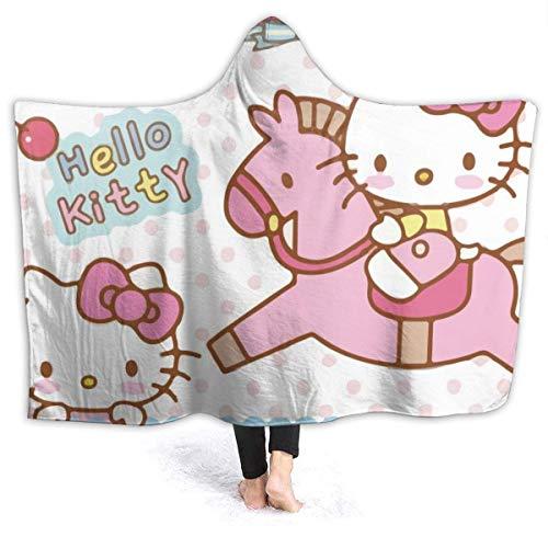 zhenglongbaihuodian Fleece Kapuzendecke Hello Kitty Reitdecke für Erwachsene Männer Frauen Mädchen Mädchen Jungen Kinder