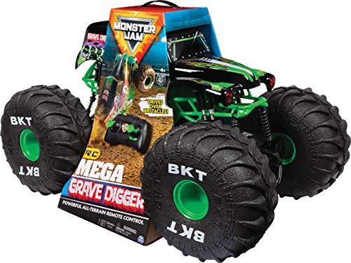 Monster Jam Camión Monstruo de Control Remoto Oficial Mega Grave Digger Todo Terreno con Luces, Escala 1:6