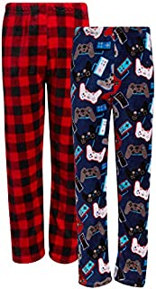 Image of Comfortable 2 Pack Red Plaid and Video Game Fleece Pajama Pants for Boys