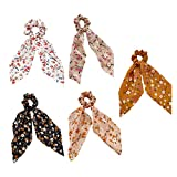 Confiable 5 unids pelo bufanda cinta seda seda scrunchies bandas elásticas pelo peluquero soporte de cola de caballo compatible con mujeres o accesorios para niñas (estilos aleatorios) Práctico