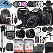 Canon EOS 90D DSLR Camera 32.5MP Sensor with EF-S 18-55mm is STM + EF 75-300mm Daul Lenss + 2 Pack SanDisk 32GB Memory Card + Backpack + Full Size Tripod + A-Cell Accessory Bundle (Black)