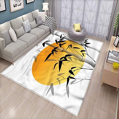 Alfombra de bambú para salón o salón con diseño de bambú, para interiores y exteriores, antideslizante