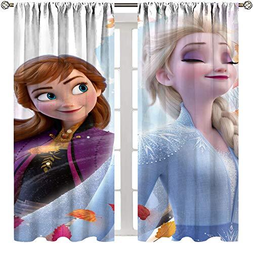 SSKJTC Cortinas opacas para sala de estar, dormitorio, películas de anime, Anna y Elsa congeladas para el cabello, cortinas largas para dormitorio, habitación de niños y niñas, 155 x 95 cm