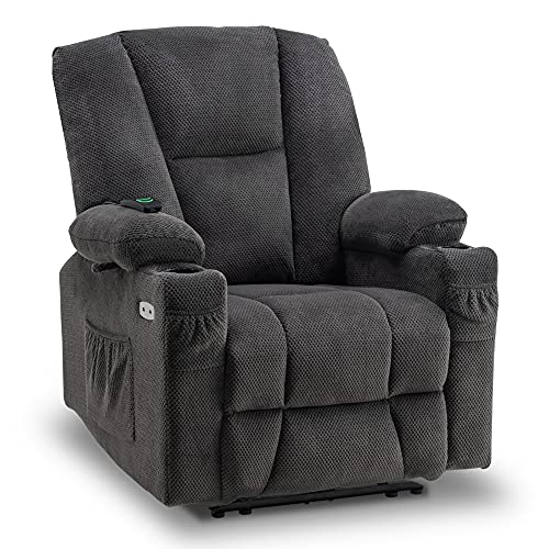 Mcombo Electric PowerRecliner Chair with Massage and Heat, Extended Footrest, USB Ports, 2 Side Pockets, Cup Holders, Plush Fabric 8015 (Not Lift Chair) (Grey)