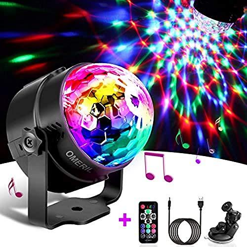 Techole Discokugel LED Party Lampe Musikgesteuert Disco Lichteffekte Discolicht mit 4M USB Kabel, 7 Farbe RGB 360° Drehbares Partylicht mit Fernbedienung für Weihnachten, Kinder, Kinderzimmer, Party