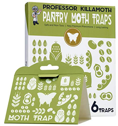 Professor Killamoth Pantry Moth Traps 6 Pack | No Insecticides | Child and Pet Safe | Superior Attractant