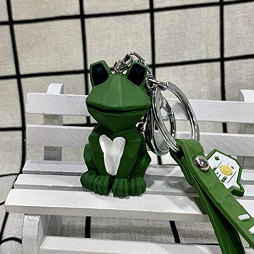 XKMY Keychain rings for crafts Lovely Animal Fox Frog Koala Pig Keychain Keyring For Women Jewelry Cute Silicone Doll Key Holder Keyring Gift (Color : Green)