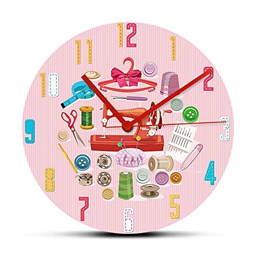 NIGU Regalos del día del miembro para las mujeres Suministros de costura y accesorios decorativos reloj de pared rosa para la sala de costura costura
