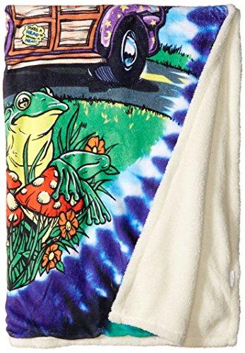 "Liquid Blue Men's Hippy Road Trippin' Tie Dye Warm Coral Fleece Throw Blanket, multi, 50"" X 60"""