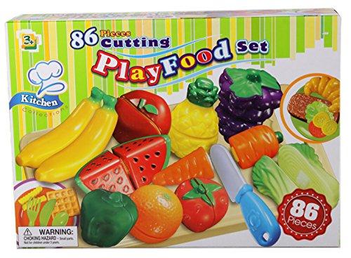 86 tlg Lebensmittel Set für Spielküche schneidbar Obst Gemüse Snacks