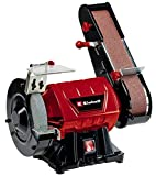 Einhell Stand-Bandschleifer TC-US 350 (max. 350 W, 2980 min-1, Schleifband-/Schleifscheibenfunktion, Schutzhaube, Funkenschutzglas, inkl. Grobschleifscheibe K36 + Schleifband K80)