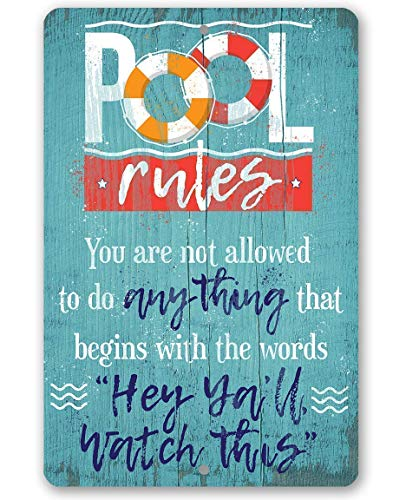 """Metal Sign - Pool Rules - Durable Metal Sign - 8"""" x 12"""" Use Indoor/Outdoor - Great Gift and Decor for Swimming Pool Under $20"""