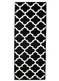 Carpeto Rugs Läufer Flur Teppich Modern Schwarz 80 x 300 cm Marokkanisches Muster Kurzflor Furuvik Kollektion