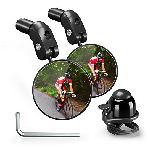 Bike Rearview Mirrors, Adjustable Handlebar End Mount Bicycle Side Mirror, Rotatable Bar End Bike Mirror, Safe Cycling Mirrors for Road Bike, Mountain Bike, Bonus Bicycle Bell