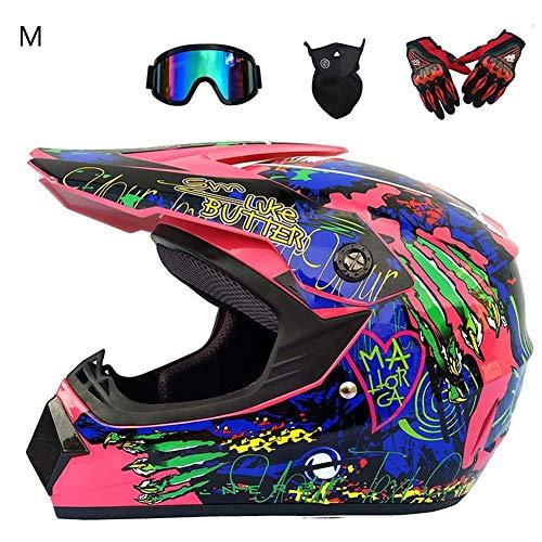 Nuevos cascos de motocross Off-road Motocross Helmet para hombres con diseño impreso Cross Motorcycle Complete Road Protect Helmet Set, cascosmoto Gafas de cuatro piezas más máscara facial más guantes