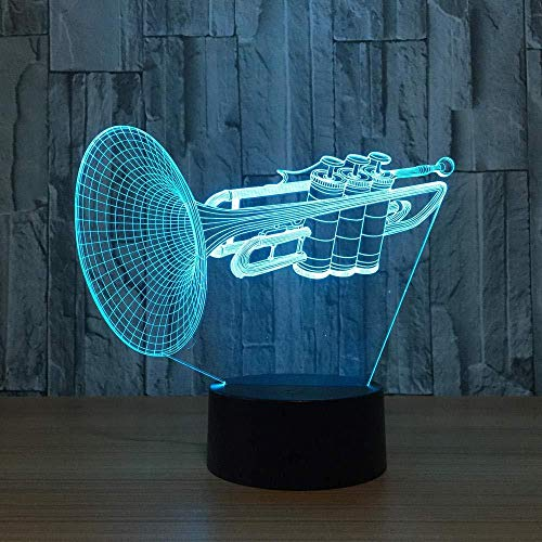 3D Illusion Lamp Night Light Gift Instrument Trumpet Led 7 Color Changing Desk Table Lamp Musical Instruments Furnishing Articles Home Decoration