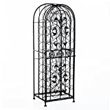 HomCom 45-Bottle Modern Wine Organizer Decorative Portable Wrought Iron Wine Rack Jail