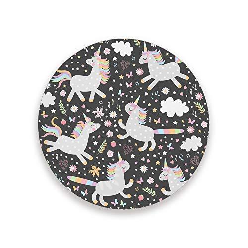CHEHONG posavasos para bebidas de cerámica impresos redondos de Navidad con piedra de cerámica absorbente y base de corcho, 3.9 pulgadas, bonito diseño sin costuras con unicornios, ver imagen, 3.9×0.2inch X 2piece