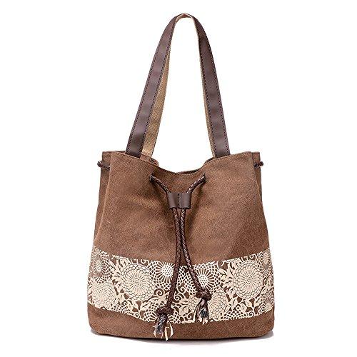 Borsa di tela, tracolla, borsetta, outdoor, stampata, marrone, C0296