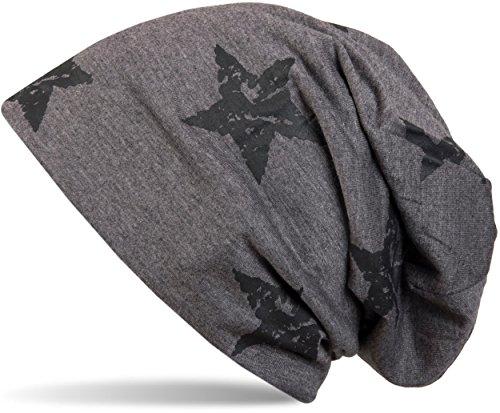 styleBREAKER Beanie Mütze mit Sterne Print im Destroyed Vintage Look, Unisex 04024041, Farbe:Taupe-Grau