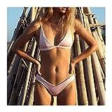 MASHUANG V Cuello Atractivo del Bikini de Las Mujeres, Color del Llano 2 Piezas Traje de baño Chica de Moda Traje de baño del Resorte Caliente del Traje de baño 2021 de otoño