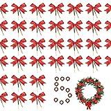 50 piezas lazos rojos navidad,Mini Arcos del Árbol de Navidad,Terciopelo lazos de navidad para Accesorios de Navideña