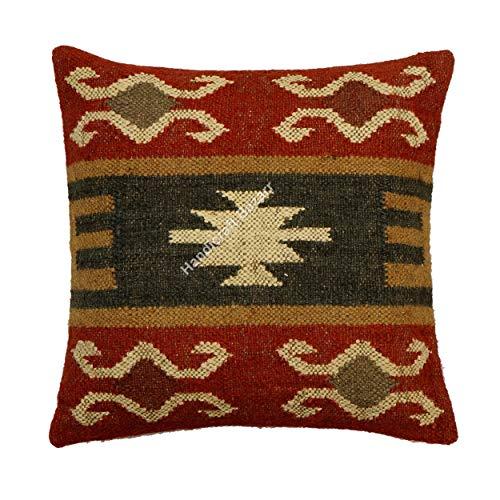 Handicraft Bazarr 18 - Funda de cojín de lana marroquí de