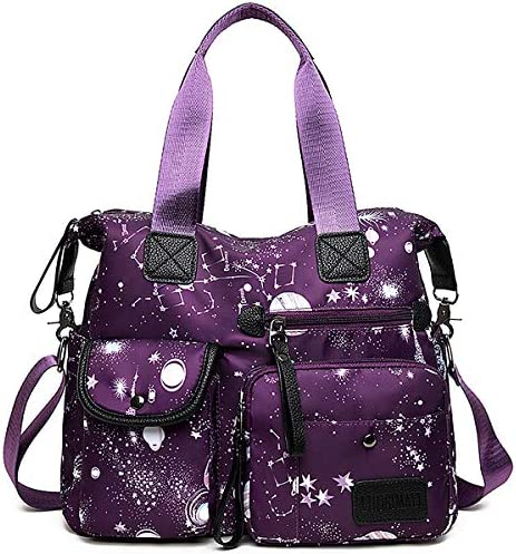 YouNuo Women s Lightweight Floral Top Handle Handbag Multi pockets Nylon Work Totes Water Resistant product image