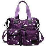 YouNuo Women's Lightweight Floral Top Handle Handbag Multi-pockets Nylon Work Totes Water Resistant Travel Crossbody Shoulder Bag (Purple), Medium
