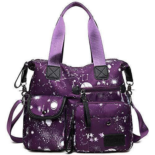 Women's Lightweight Floral Top Handle Handbag Multi-pockets Nylon Work Totes Water Resistant Travel Crossbody Shoulder Bag (Purple)