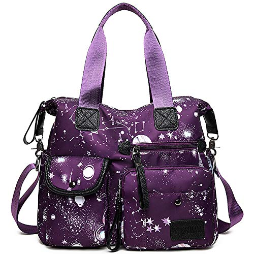 YouNuo Women's Lightweight Floral Top Handle Handbag Multi-pockets Nylon Work Totes Water Resistant Travel Crossbody Shoulder Bag (Purple), Medium