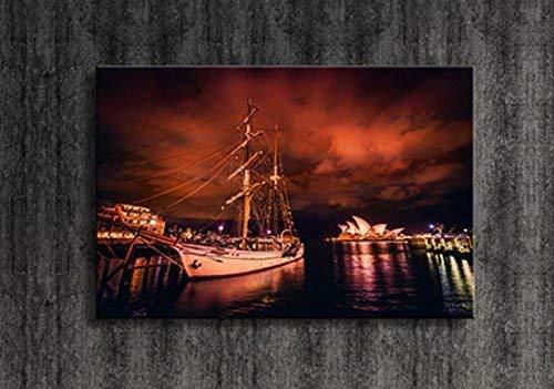 ZGYQGOO LED Lampe Stadt Nachtszene Dekoratives Gemälde Hängendes Gemälde Überraschungsgrafik Modern, b, 30 * 40