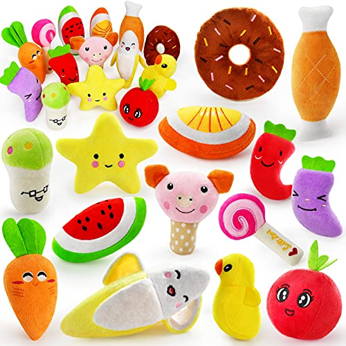 14 Pack Dog Squeaky Toys Cute Stuffed Plush Fruits...