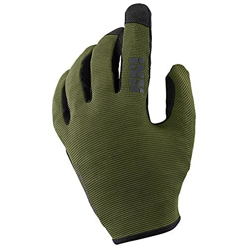 iXS Unisex Ergonomic Preformed Slip-On Touch-Screen Carve Motorcycle Gloves, Olive, Medium