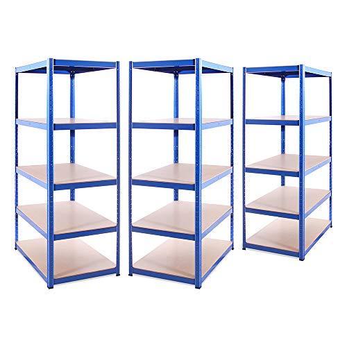 Garagehyllor: 180 cm x 90 cm x 60 cm | Tung hyllplan för förvaring – 3 fack extra djup, blå 5 nivåer (175 kg per hylla), 875 kg kapacitet | för verkstad, skjul, kontor | 5 års garanti