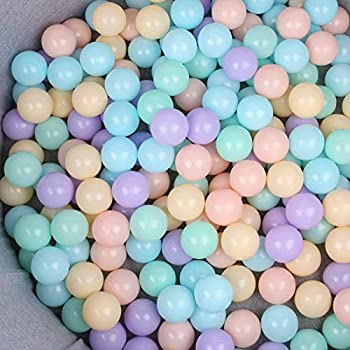 WINTECY Pack of 50 Ball Pit Balls 2.2 inches/5.5 cm BPA Free Plastic Ball Crush Proof Ocean Balls Phthalate Free Toys for Boys Girls Toddlers Indoor Outdoor - Macaron 5 Colors