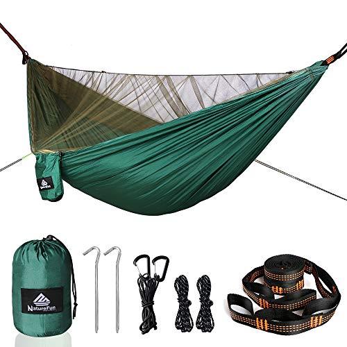 NATUREFUN Mosquitero Hamaca Ultra Ligera para Viaje y Camping | 300kg de Capacidad de Carga(290 x 140 cm),Transpirable, Nylon de Paracaídas de Secado Rápido | Accesorios Completos Fácil de Configurar