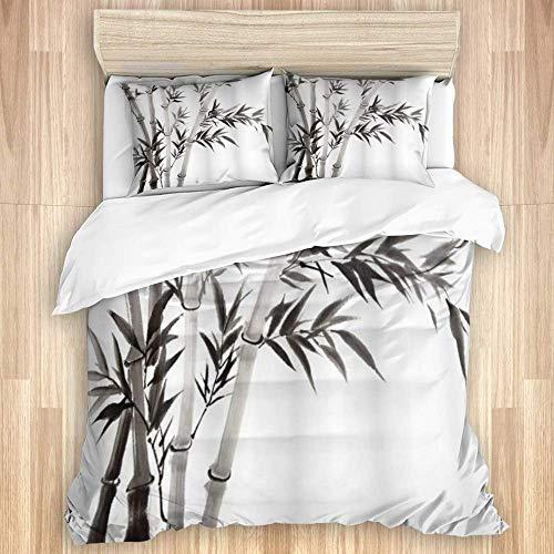 Funda de edredón, hojas de bambú tradicionales que significan renovación del crecimiento de la sabiduría Dé rienda suelta a su arte de poder, juego de cama de calidad con 1 funda y 2 fundas de almohad