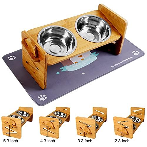 Bosixty Erhöhte Futternäpfe für Hunde und Katzen, verstellbare Höhe, Bambus Hund und Katze, Futterstation mit 2 Edelstahlnäpfen und sehr saugfähiger, wasserdichter rutschfester Futternapf Matte