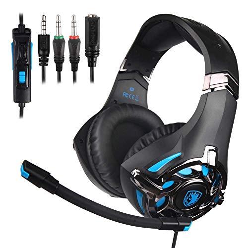 Hoofdtelefoon met kabel, gaming-koptelefoon, Hi-Fi stereo opvouwbare bedrade hoofdtelefoon met microfoon en TF-kaart