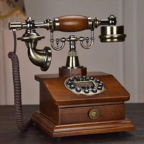 European Style Antique Telefon Holz Mode-Digital-Festnetz Angetrieben durch Wählscheibe Telefon Vintage Nostalgie Dreh,D