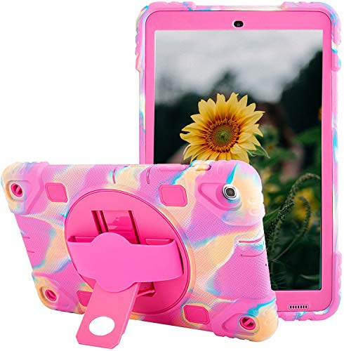 Samsung Galaxy Tab A 10.1 T510 Case 2019 Shockproof Cover Vivid Colors Tablet Case with Ajustable 360 Rotating Kickstand (Camo Pink)
