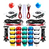 Qenker 2-Player LED Arcade DIY Kit for USB MAME PC Game DIY & Raspberry Pi Retro Controller DIY Including 2X Arcade Joystick, 20x LED Arcade Buttons, 2X Zero Delay USB Encoder (Mixed Color Kit)
