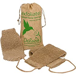 DeLaine's Exfoliating Back and Body Scrubber - Natural Hemp - Luxurious Healthy Skin Care for Women and Men - Very Hygienic and Durable