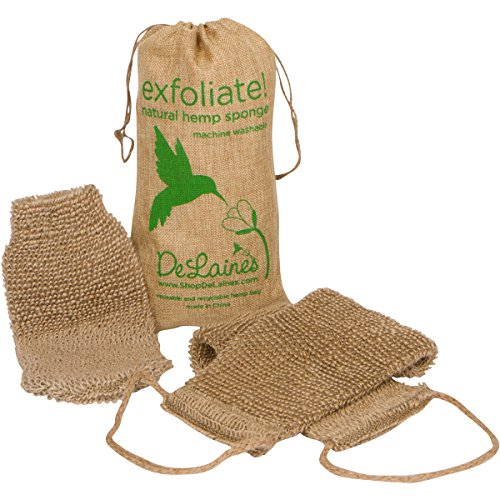 DeLaine's Exfoliating Back and Body Scrubber - Natural Hemp - Luxurious Healthy Skin Care for...