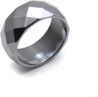 Faceted Hematite 10mm Width Rings Fashion Jewelry