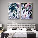 UIOLK Pintura de Arte Multicolor Pintura de Lienzo de Plumas de pájaro Abstracto Cartel de Color Pintura de Pared decoración decoración Aniversario cumpleaños