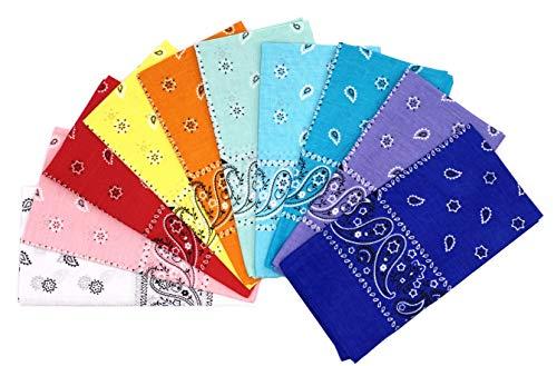 Vamqor 100% Cotton 10 Pack Fine Bandanas(Summer Assorted)